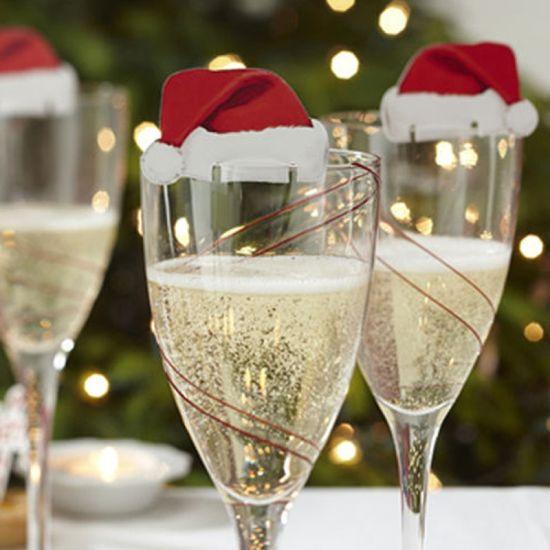 China 10PCS Christmas Party Promotional Gift Wine Glass Santa Hat ...