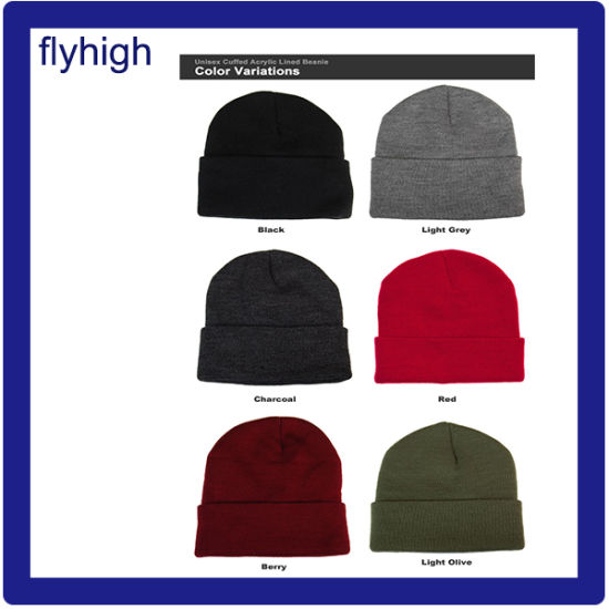 Custom High Quality Embroidered Winter Knitted Beanie Red Hat Knitting Hat Acrylic Hat pictures & photos