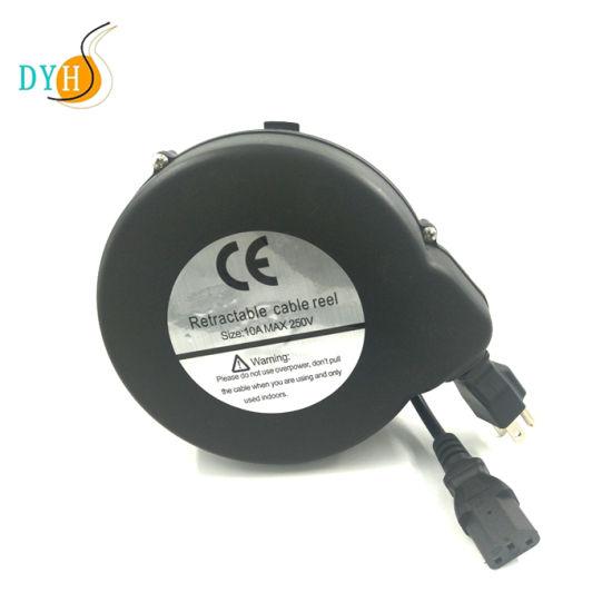 IEC C19 C13 Extendable Power Cable Reel Plastic Mini Cord Recoiler