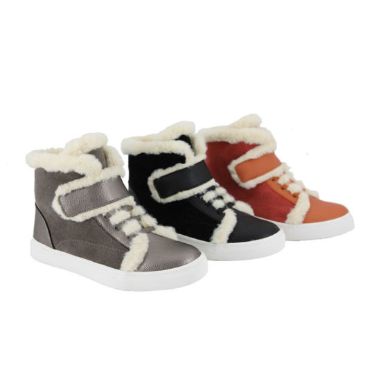 OEM Children Unisex Outdoor Fur Leather Upper Handmade Casual Sneakers Shoes