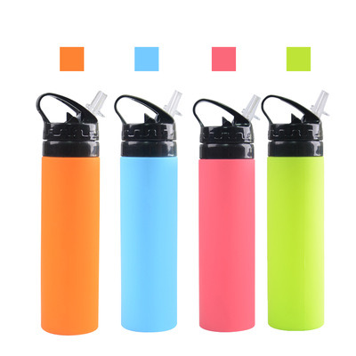 600ml Silicone Foldable Cup Travel Hiking Portable Outdoor Sport Water Bottle with White Straw pictures & photos