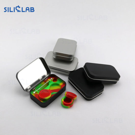 Wholesale Tin Box Metal Case Kit Set with Wax DAB Tool and 5ml Silicone DAB Container pictures & photos