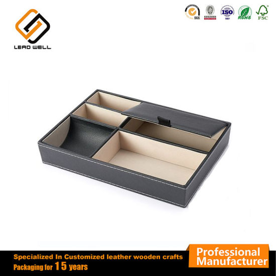 Exquisite PU Leather Jewelry Display Tray Desk Stationary Box pictures & photos