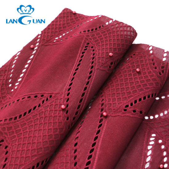 Red Pearl Garment Polyester Hand Beaded Lace Fabric for Dress