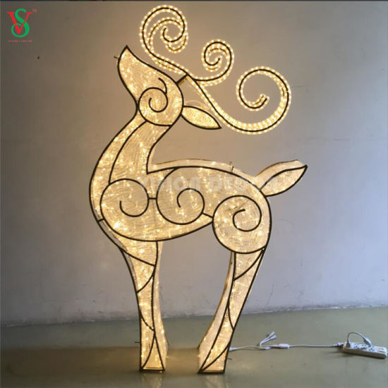 Oversized Commercial Garden Christmas Decorations Display Illuminated Large 3d Reindeer Motif Lights