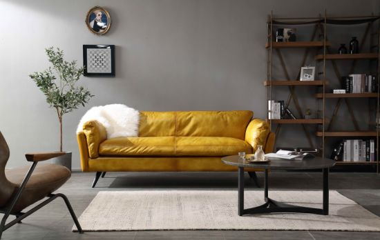 Vintage Leather Sofa for Europe and Asia with Metal Legs