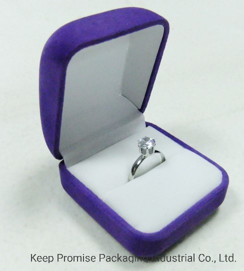 Clamshell Gift Packaging Purple Fabric Ring Jewelry Box
