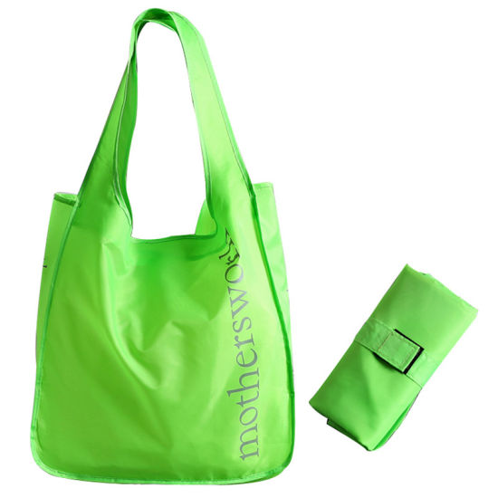 Customized Logo Printing Polyester Folding Portable Velcro Seal Shopping Handle Vest Bag