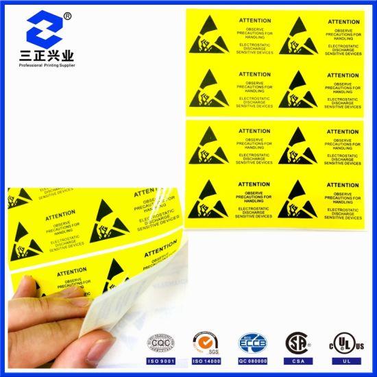 Custom Designed PVC Waterproof Attention Mechanized Electrostatic Discharge Warning Label