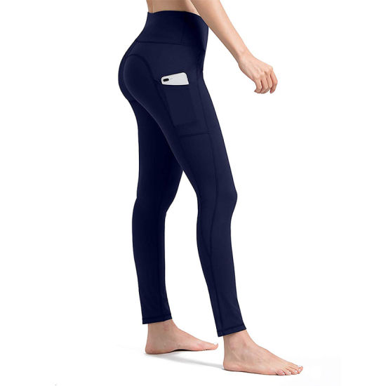 Women Yoga Pants with Mobile Phone Pocket Compression Exercise Leggings Abdomen Yoga Pants