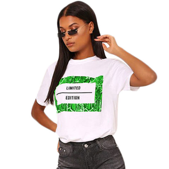 L219 Casual O Neck Letter Printed Jacinth T-Shirt