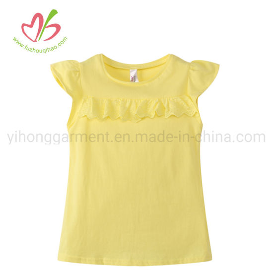 Plain Color Cotton Jersey Family Set Tops for Girls Yellow/Tiffiny/Pink