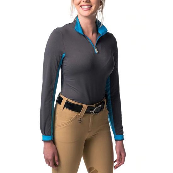 Polyester Spandex Stretch Polo Shirt Equestrian Clothing Long Sleeve Ladies Show Shirts