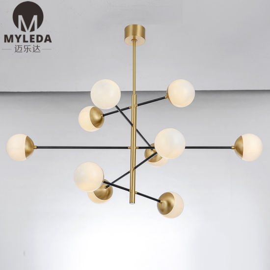 Hand Blown Glass Gold Hanging White Glass Globe Pendant Chandelier Lighting Fixture China Chandelier Chandelier Lamp Made In China Com