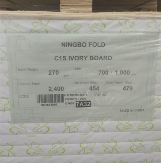 Ningbo Fold C1s Fbb/ Ivory Board/ Duplex Board for Printing and Packing