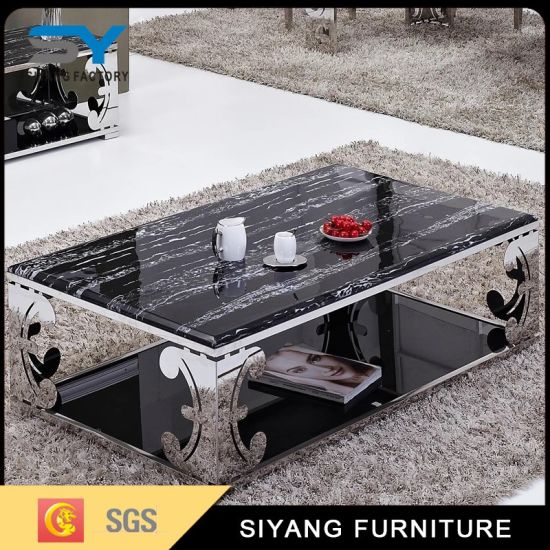 Stainless Steel Living Room Furniture Glass Coffee Side Table