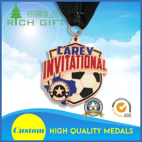 Free Sample Exquisite Custom Metal 3D Logo Iron Stamping Zinc Alloy Matt Copper Challenge Medal Medallion with Football Invitational as Sports Souvenir
