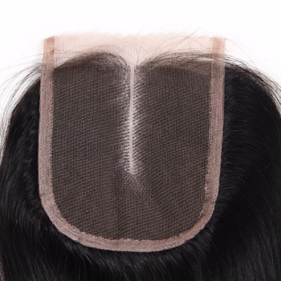 Middle Part Remy Hair 4*4 Lace Closure pictures & photos