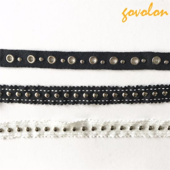New Arrival Eyelet/Button Black Trims/Lace