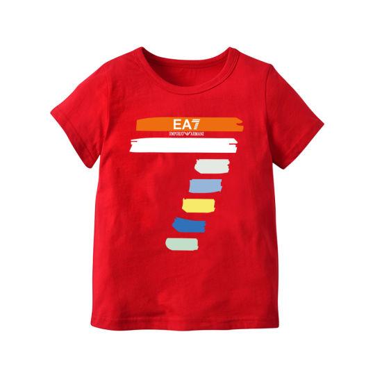 Round Neck Short Sleeve Children Cotton T-Shirt Kids