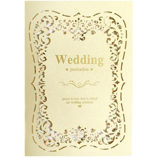 European Vintage Pure Color Wedding Invitations Laser Cut Hollow Design Cards Pack Of 20