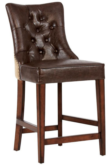 Customized Bar Furniture Brown Leather Tufted Bar Chair Bar Stool (HD511) pictures & photos
