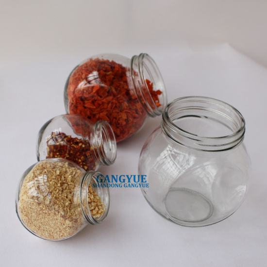 Food Grade Flat Drum Shape Glass Storage Glass Jar for Spices Candy Foods Dried Vegtables Canned Fruit