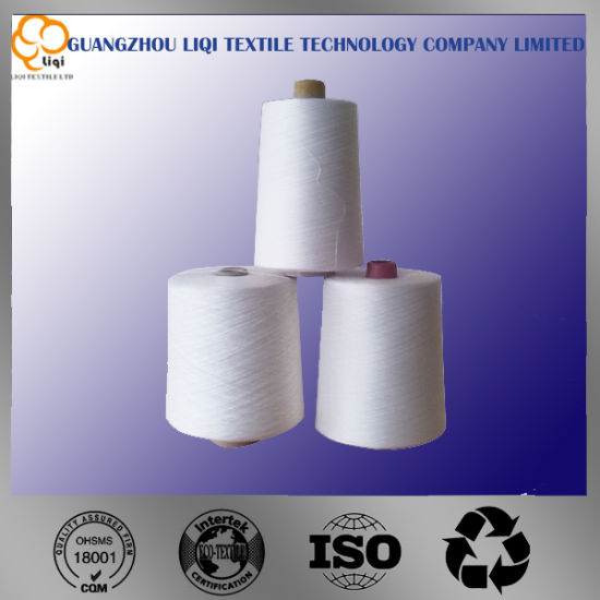 100% Polyester Spun Virgin Thread in Raw White & Dyed Colors & Bleached White Color pictures & photos