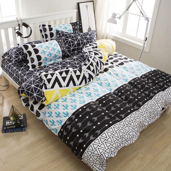 Excellent Quality and Design Home Textile Bed Sheet Deep Blue Bedsheet Bedding Set