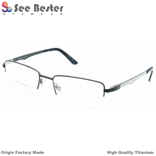 a70e2272be Fashion 100% Titanium High Quality Half Frame Optical Frames with Carbon  Fiber and Double Color Eye Glass Frames Wholesale Classic Design Optical  Eyewear