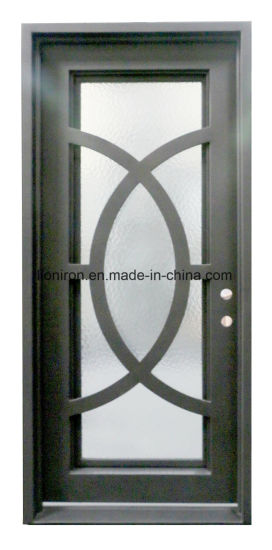 China Luxurious House Used Iron Entry Security Door With Rain Glass