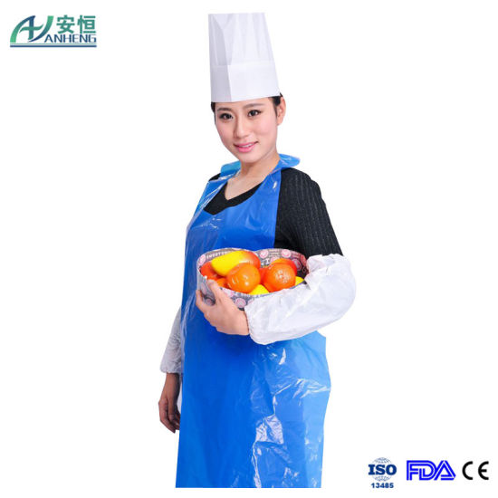 Soft Embossed Disposable Blue Poly Aprons