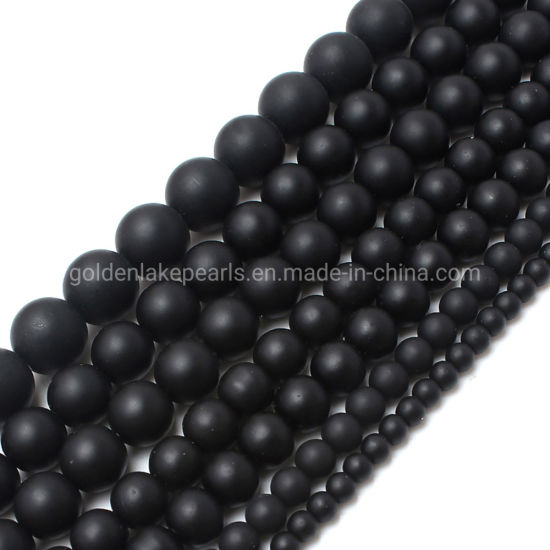 Prayer Jewellery Glass Agate Synthetic Black Stone Matte Plain Rounds Gemstone Beads