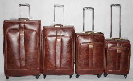 Oil Skin PU Leather 4PC Set Trolley Case