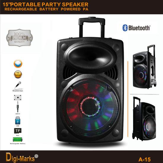 15'' Multimedia DJ Outdoor Wireless Karaoke Trolley Bluetooth Active Speaker