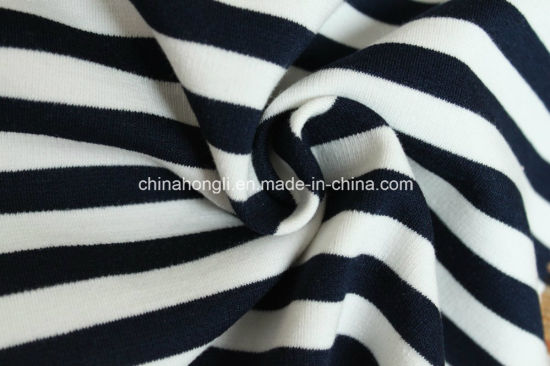 High Quality T/R/Sp 63/23/4, 300GSM, Yarn Dye Stripe Ponte-Roma for Garments