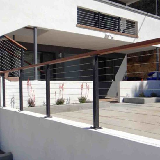 China Black Post Stainless Steel Cable Railing With Solid
