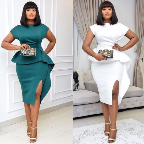 2021 Guangzhou Plus Size Sexy Short Sleeve Formal Dresses for Women