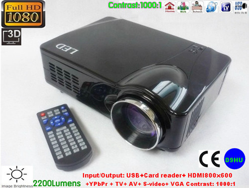 Portable HD USB LED Projector Built in TV Tuner Support 16: 9 HDMI 1080p (D9HU) pictures & photos