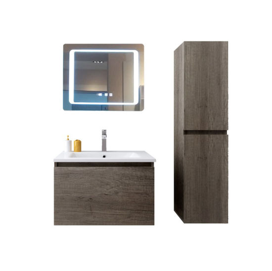 Popular Texture Wooden Hands-Free Smart Touch Switch Anti-Fog LED Mirror Bathroom Vanity