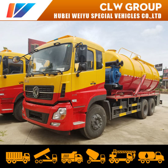 Dongfeng 6X4 18cbm 18tons Vacuum Sewage Suction Tanker Truck with Water Ring Vacuum Pump
