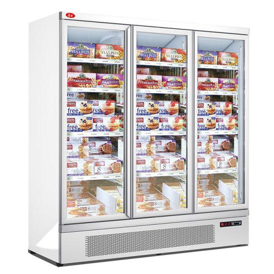 Easy to Clean Design Upright Glass Door Display Freezer