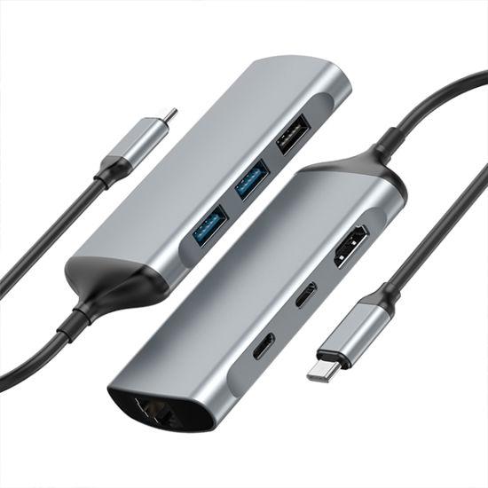 7 in 1 USB3.1 Type C to  HDMI+VGA+USB3.0*3+USB C*2 (PD+DATA)
