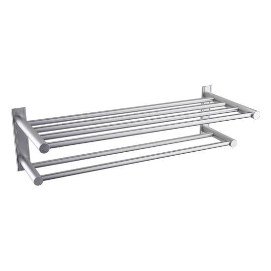 Luolin Aluminum Hotel Towel Rack Bathroom Shelf Shower Strong Towel Bar, Anodized 92506-2