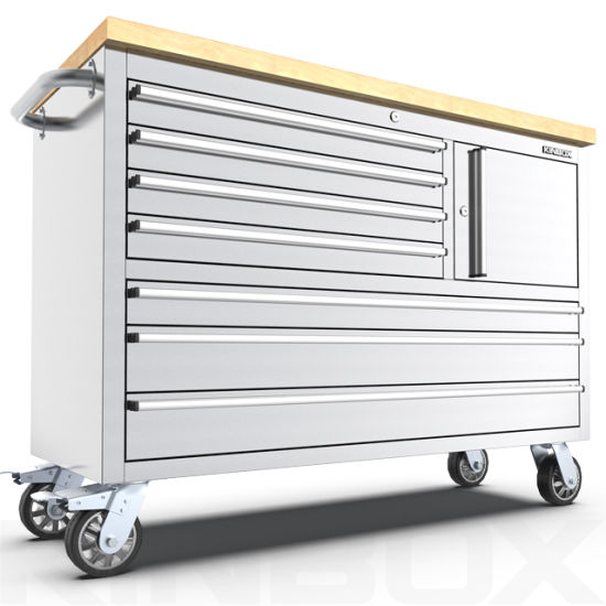 Kinbox 7-Drawer Stainless Steel Tool Box with Wheel for Auto Maintenance
