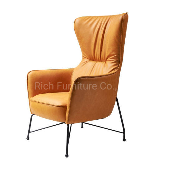 Enjoyable Mid Century Modern Yellow Leather High Back Armchair Retro Leisure Accent Chair With Metal Legs Cjindustries Chair Design For Home Cjindustriesco