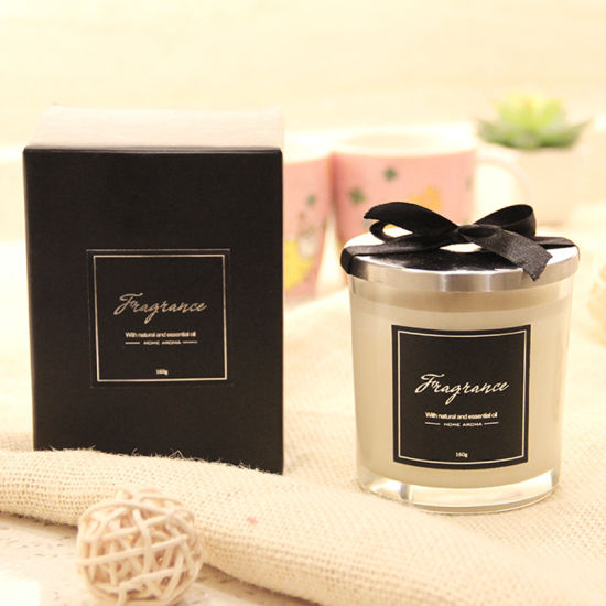 200g Frosted Glass Scented Candle with Silk Printing Sticker and 100% Soy Wax and Lid