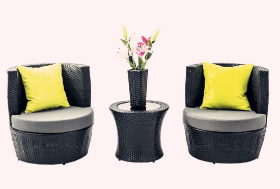 4 PCS Outdoor Black Rattan Stackable Patio Furniture