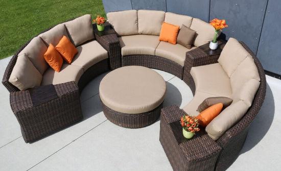 Patio Rattan Wicker Sofa Set Round, Round Outdoor Sectional