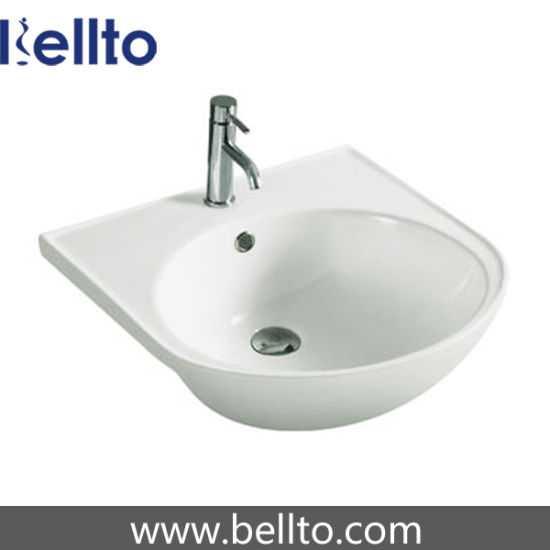 Bathroom ceramic Semi inset basin (5023) pictures & photos